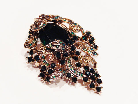 Ruby Red, Emerald Green or Amber Crystal Brooch