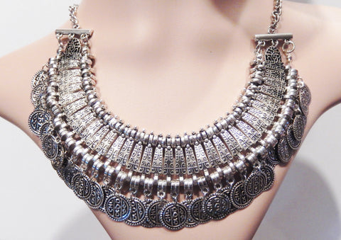 Stylish Silver Coins Choker Statement Necklace