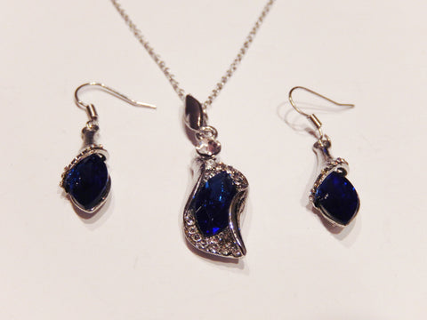 Silver Plated Austrian Crystals Necklace and Earrings Sets