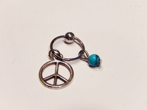 Silver Peace Symbol Helix Ear Cartilage Hoop Piercing