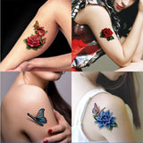 Colorful 3D Butterflies, Roses Temporary Tattoos