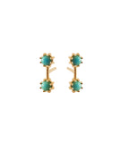 Twin Stud Earrings, Gold / Turquoise, Earrings, blairlimnyblairlimny