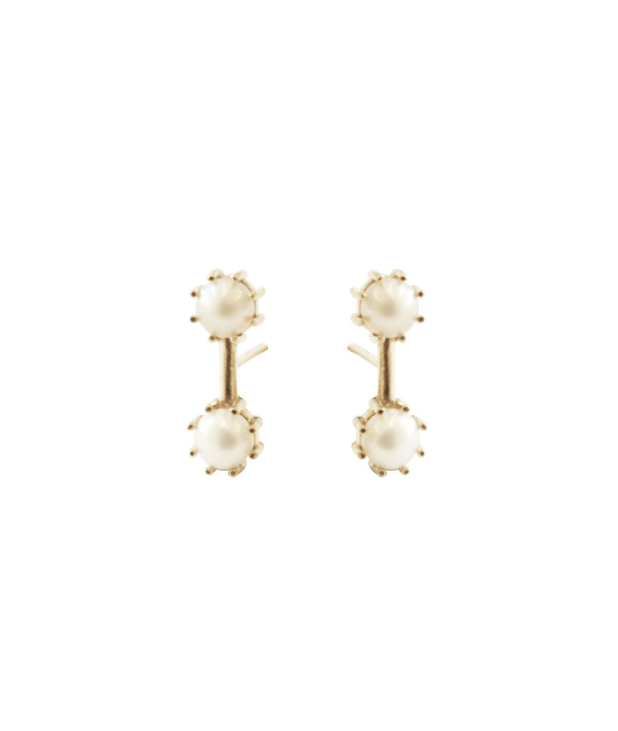 Twin Stud Earrings, Gold / Pearl, Earrings, blairlimnyblairlimny