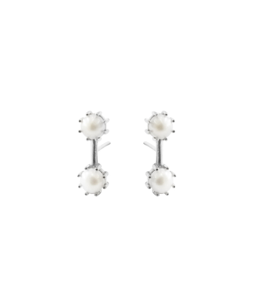 Twin Stud Earrings, Sterling Silver / Pearl, Earrings, blairlimnyblairlimny