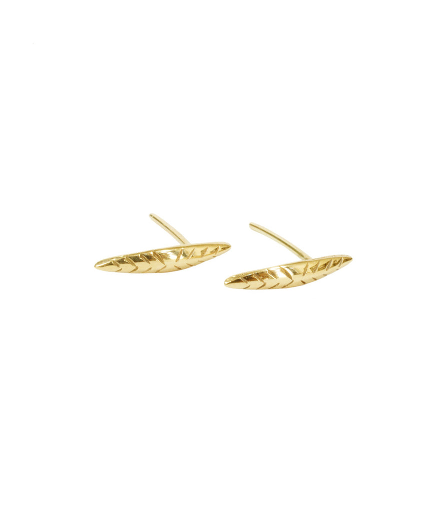 Leaf Stud Earrings, 10K Gold, Earrings, blairlimnyblairlimny