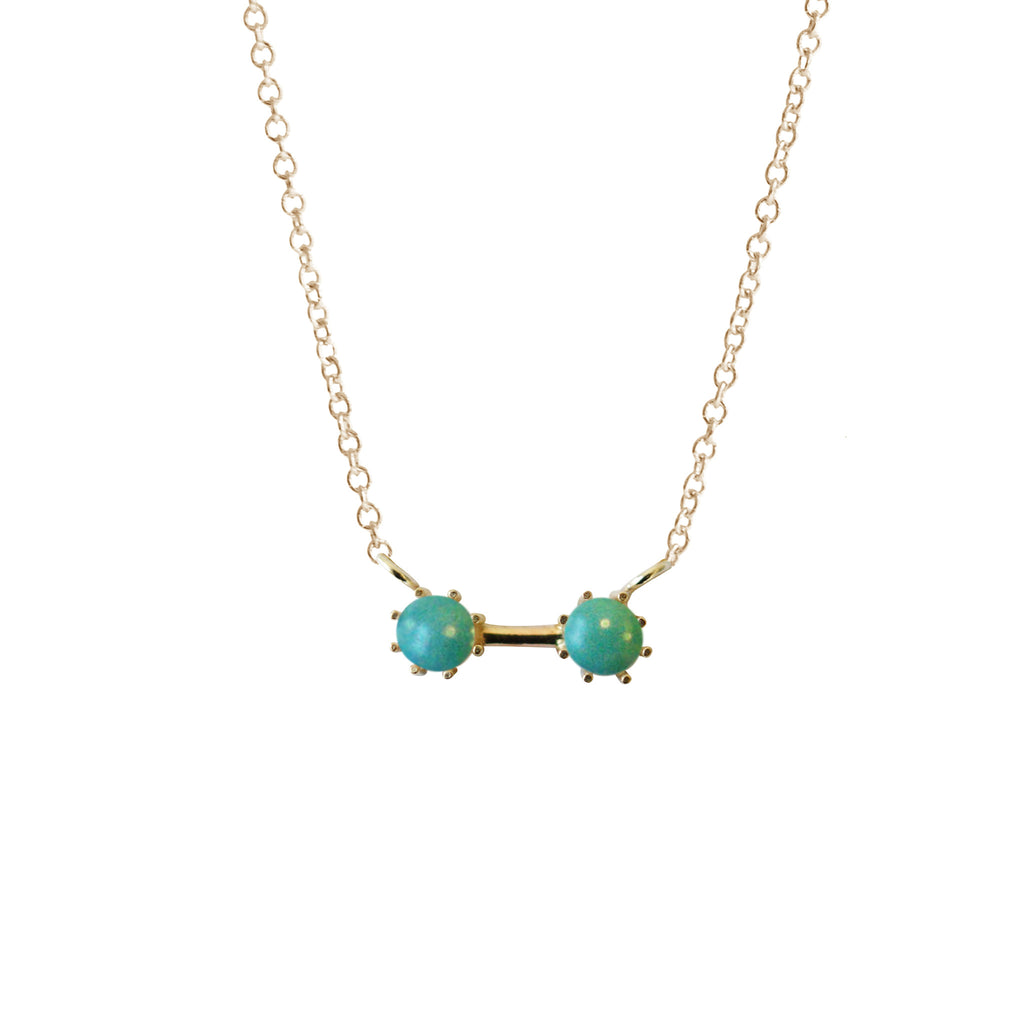Twin Necklace, Gold / Turquoise, Necklaces, blairlimnyblairlimny