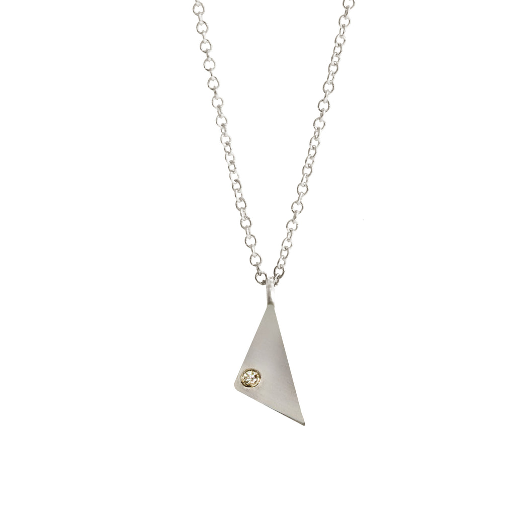 Triangle Diamond Necklace, Sterling Silver, Necklaces, blairlimnyblairlimny