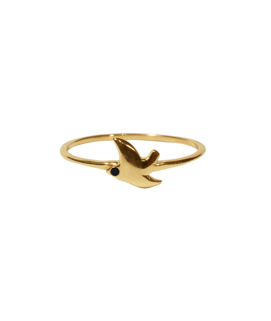 Dove Ring, 5 / Black Diamond / 10K Gold, Rings, blairlimnyblairlimny