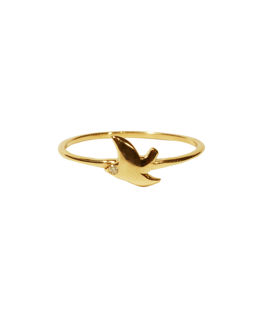 Dove Ring, 5 / White Diamond / 10K Gold, Rings, blairlimnyblairlimny