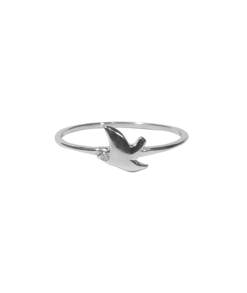 Dove Ring, 5 / White Diamond / Sterling Silver, Rings, blairlimnyblairlimny