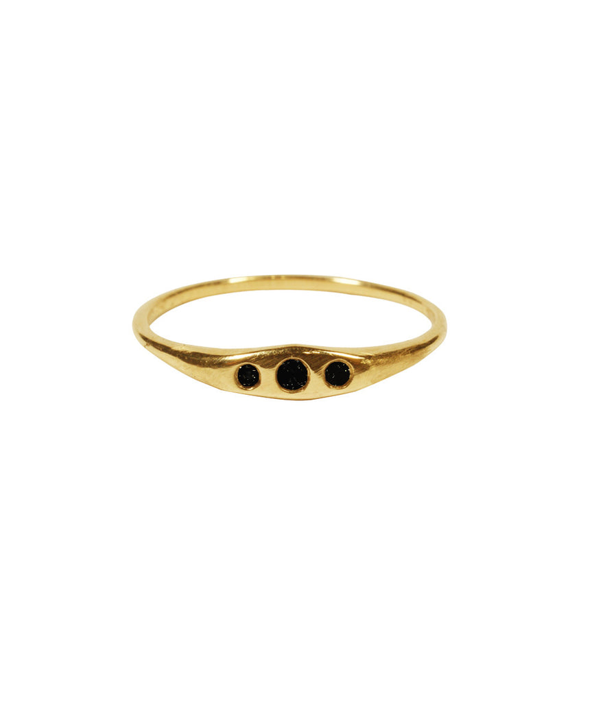 Diamond Triage Ring, 5 / Black Diamond / 10K Gold, Rings, blairlimnyblairlimny