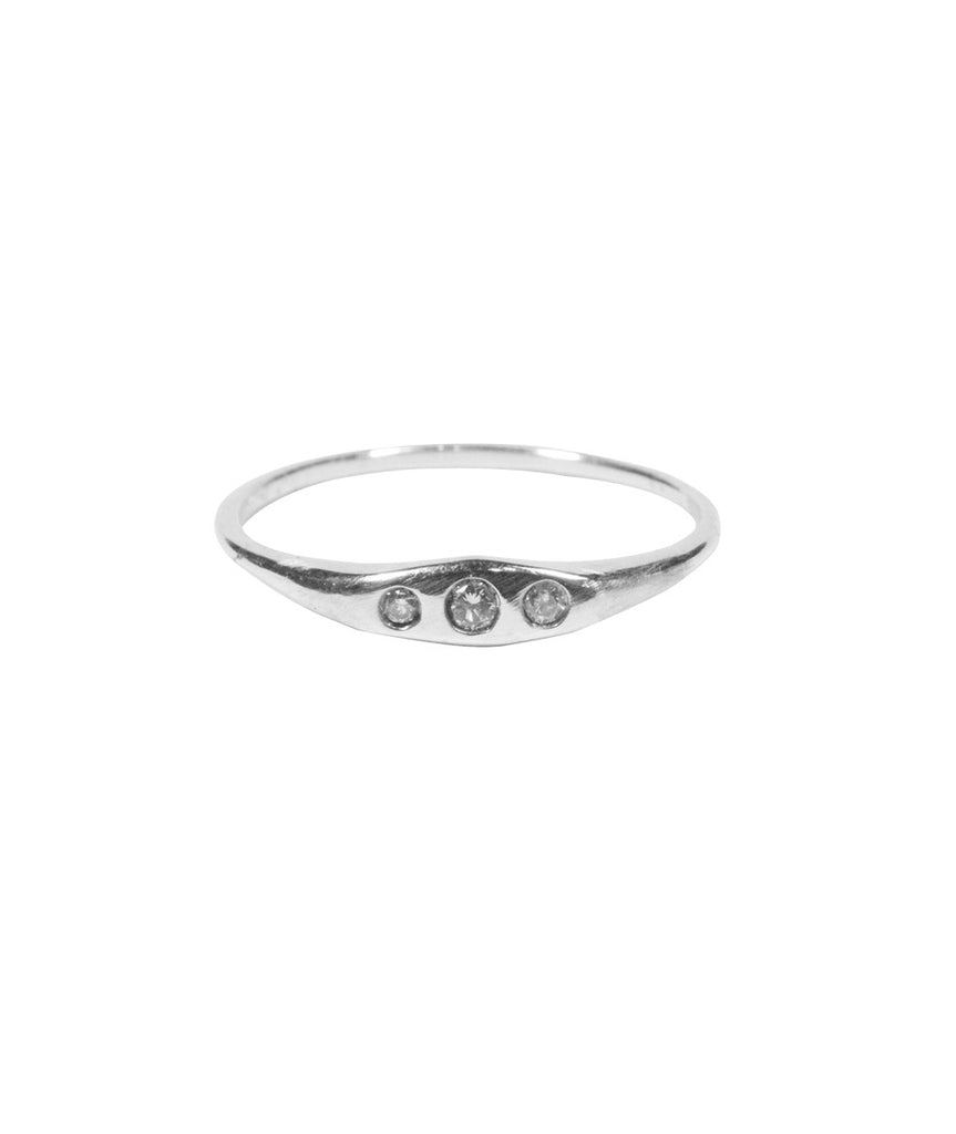 Diamond Triage Ring, 5 / White Diamond / Sterling Silver, Rings, blairlimnyblairlimny