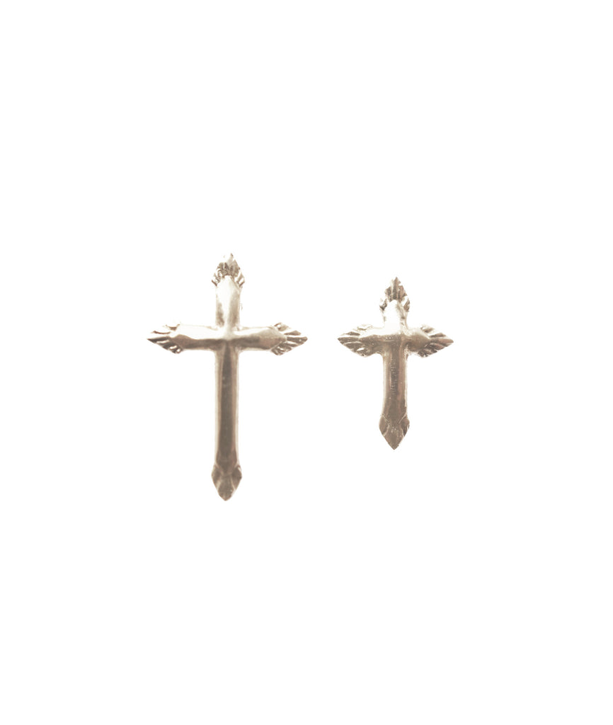 Cross Stud Earr ing, Silver, Earrings, blairlimnyblairlimny