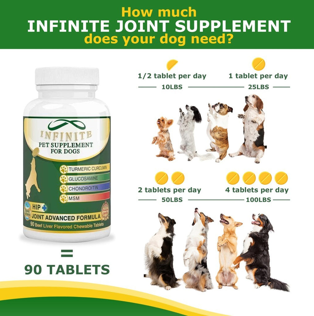 Arthritis and Joint Health For Dogs - Beef-Flavored Chewable Tablets 90 Count Contains Glucosamine, Chondroitin, Turmeric, MSM