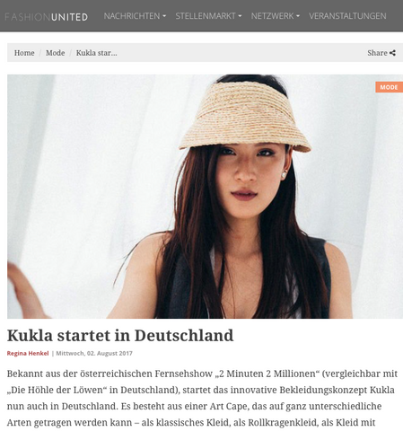 Fashion United article about KUKLA