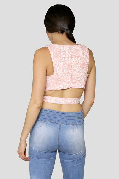 CROP TOP JACQUARD FLORES