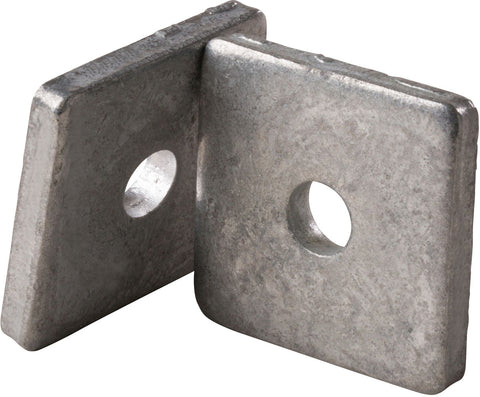 "Square Washer Galvanized with 3/8"" - center hole, bag of 100"
