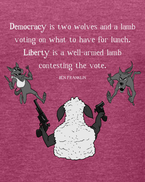 Ben Franklin on Democracy - Women's Edition - Raspberry Heathered