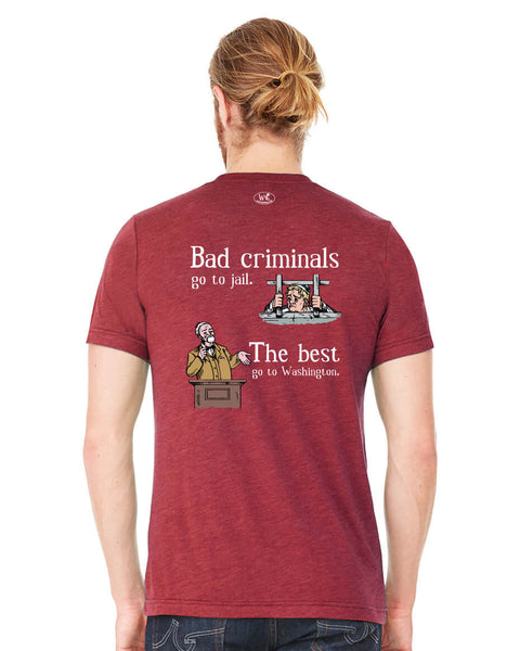 Bad Criminals - Men's Edition - Cardinal Red Heathered - Back