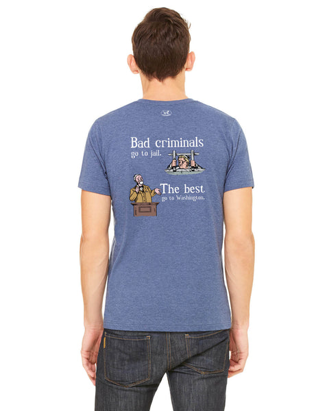 Bad Criminals - Men's Edition - Navy Blue Heathered - Back