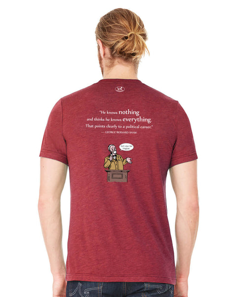 George Bernard Shaw on Politicians - Men's Edition - Cardinal Red Heathered - Back