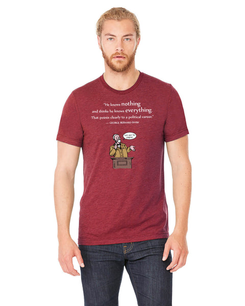George Bernard Shaw on Politicians - Men's Edition - Cardinal Red Heathered - Front