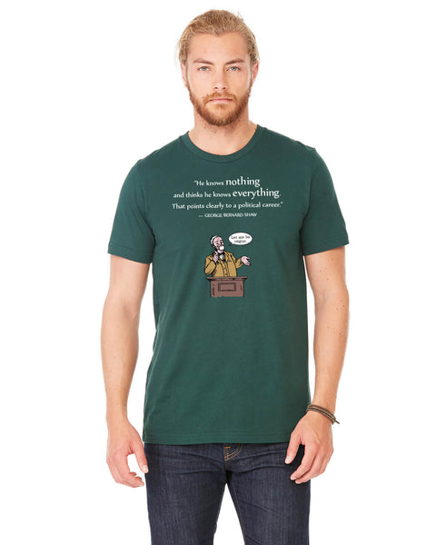 George Bernard Shaw on Politicians - Men's Edition - Forest Green Heathered - Front