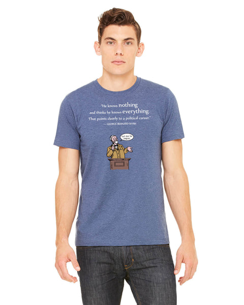 George Bernard Shaw on Politicians - Men's Edition - Navy Blue Heathered - Front
