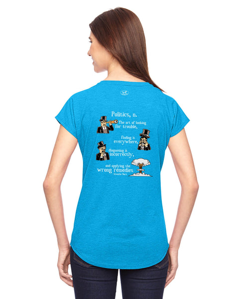 Groucho Marx on Politics - Women's Edition - Caribbean Blue Heathered