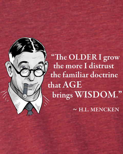 H.L. Mencken on Age & Wisdom - Men's Edition - Cardinal Red Heathered - Both