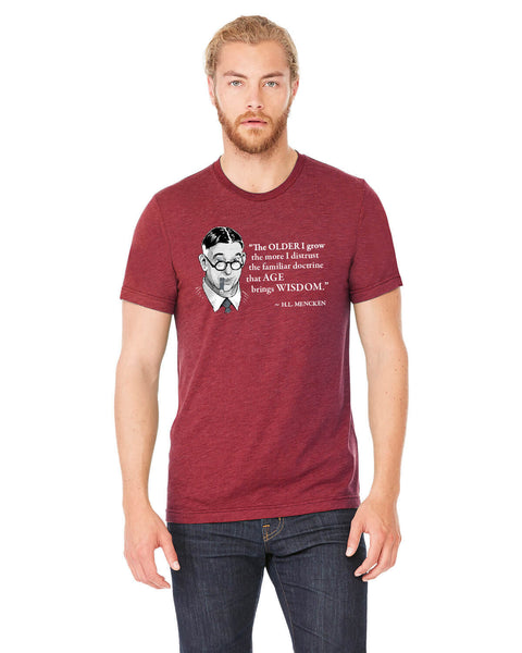 H.L. Mencken on Age & Wisdom - Men's Edition - Cardinal Red Heathered - Front