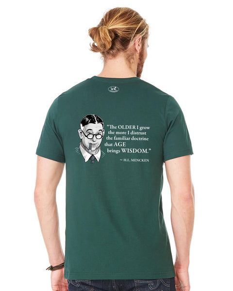 H.L. Mencken on Age & Wisdom - Men's Edition - Forest Green Heathered - Back