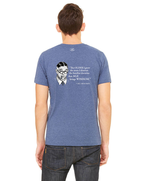 H.L. Mencken on Age & Wisdom - Men's Edition - Navy Blue Heathered - Back