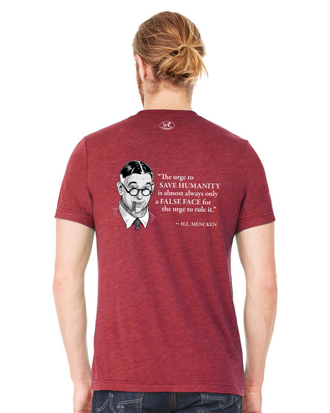 H.L. Mencken on Power Seekers - Men's Edition - Cardinal Red Heathered - Back