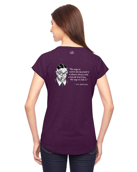 H.L. Mencken on Power Seekers - Women's Edition - Aubergine Heathered