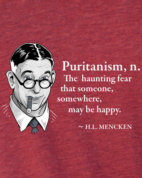 H.L. Mencken on Puritanism - Men's Edition - Cardinal Red Heathered - Both