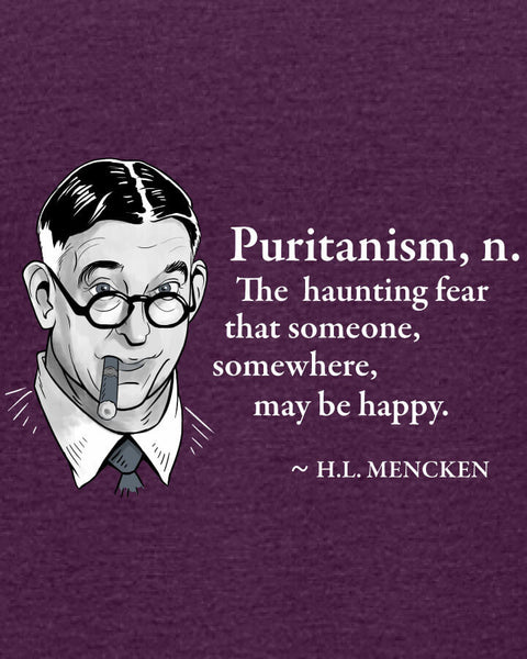 H.L. Mencken on Puritanism - Women's Edition - Aubergine Heathered