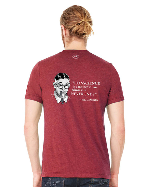 H.L. Mencken on Conscience - Men's Edition - Cardinal Red Heathered - Back