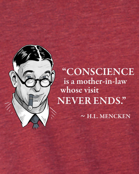 H.L. Mencken on Conscience - Men's Edition - Cardinal Red Heathered - Both