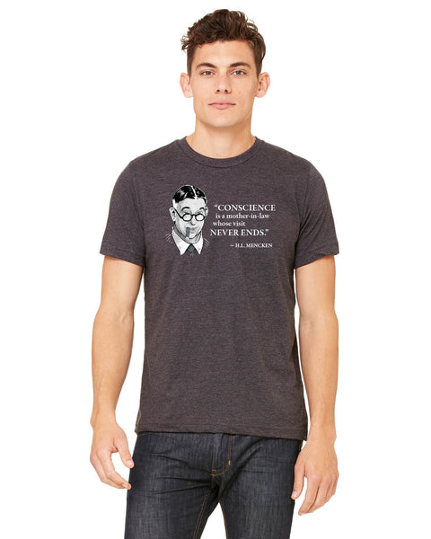 H.L. Mencken on Conscience - Men's Edition - Dark Grey Heathered - Front