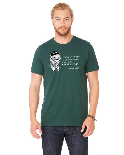 H.L. Mencken on Conscience - Men's Edition - Forest Green Heathered - Front