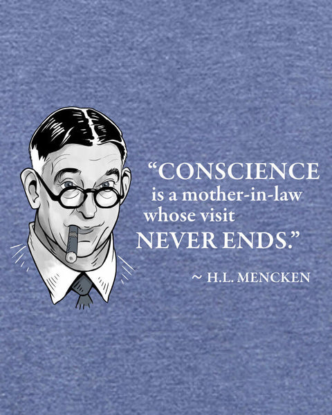 H.L. Mencken on Conscience - Men's Edition - Navy Blue Heathered - Both