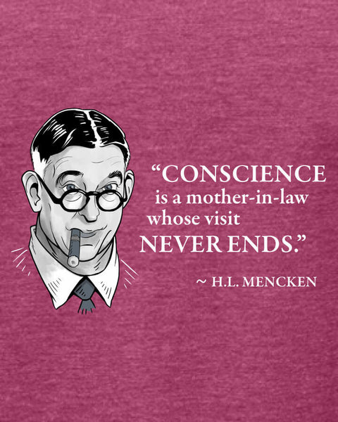 H.L. Mencken on Conscience - Women's Edition - Raspberry Heathered