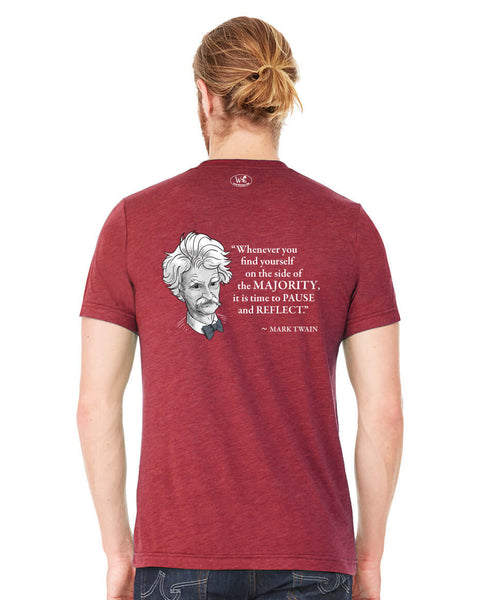 Mark Twain on the Majority - Men's Edition - Cardinal Red Heathered - Back
