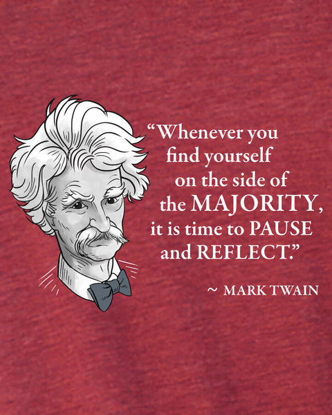 Mark Twain on the Majority - Men's Edition - Cardinal Red Heathered - Both