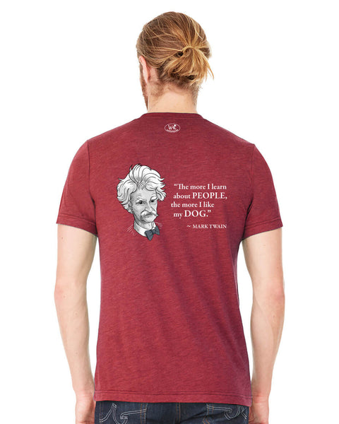 Mark Twain on Dogs - Men's Edition - Cardinal Red Heathered - Back
