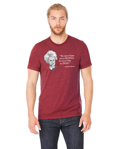 Mark Twain on Dogs - Men's Edition - Cardinal Red Heathered - Front