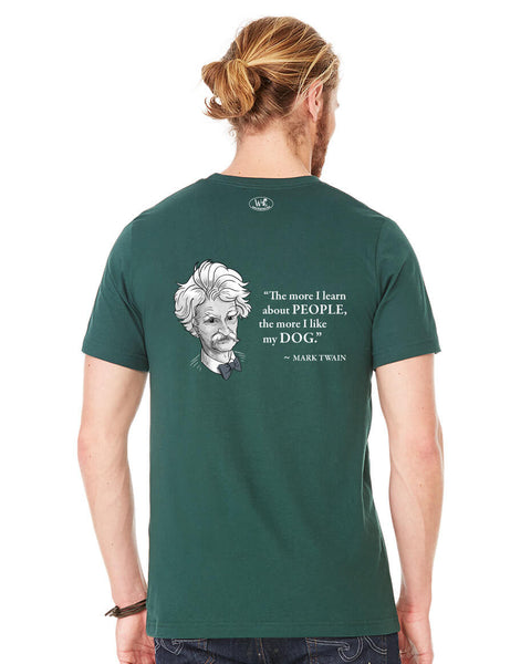 Mark Twain on Dogs - Men's Edition - Forest Green Heathered - Back