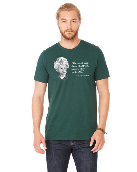 Mark Twain on Dogs - Men's Edition - Forest Green Heathered - Front