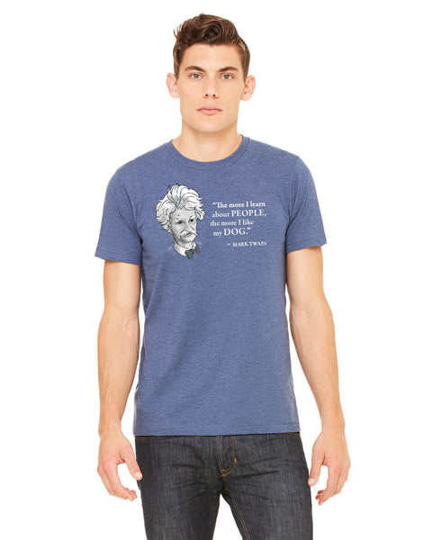Mark Twain on Dogs - Men's Edition - Navy Blue Heathered - Front
